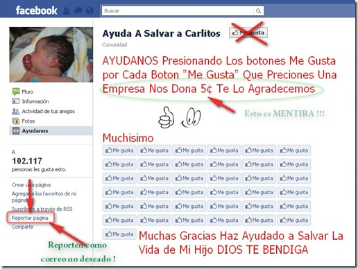 Fraude: Ayuda a Salvar a Carlitos en Facebook