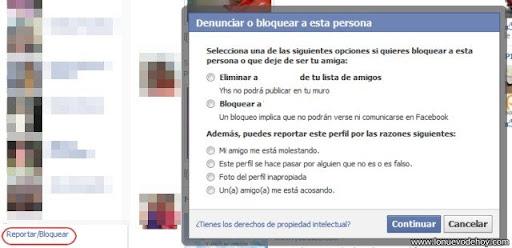 reportar a una persona en facebook