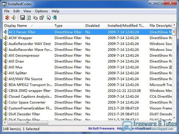 InstalledCodec : un petit logiciel pratique pour lister tous les codecs et filtres DirectShow de votre machine