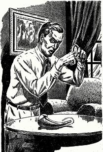 Illustration by T E Willis accompanying the original publication in Fantastic Adventures magazine of short story The Can Opener by Rog Phillips. Image shows the protagonist experimenting with the curious can opener.