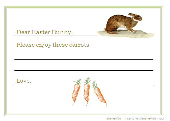 Dear Easter Bunny Single Card