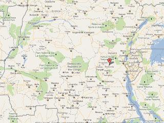 Le point A en rouge, le territoire de Shabunda, dans la Province du Sud-Kivu en RDC, localité sur Google Map.