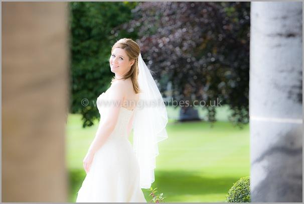 hi key photograph of bride at dollar academy scotland