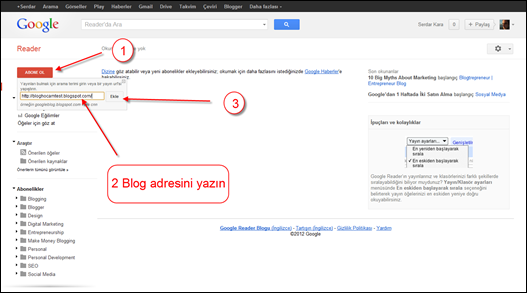 Google Reader Blog Ekleme