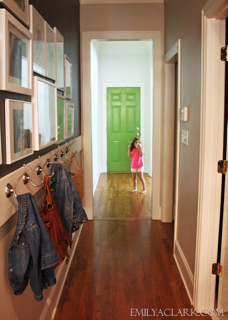 hallway with coat hooks