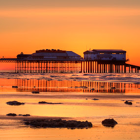Cromer beach and pier at sunset by Dave Byford - Landscapes Sunsets & Sunrises ( sand, cromer, sunset, norfolk, sea, pier, beach,  )