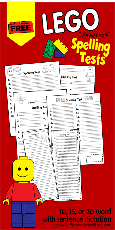FREE Lego Spelling Tests for 10, 15 or 20 words for first grade, second grade, third grade, 4th grade, and 5th grade students. Perfect for homework, spelling practice, homeschooling families, and more. SO CUTE!!