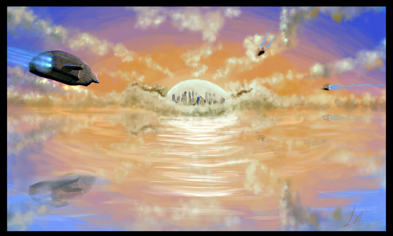 DSG 1665: Sci-Fi • FLYING CRAFT APPROACH GARGANTUAN ORB CITY LIT BY PINK SUNSET SKY