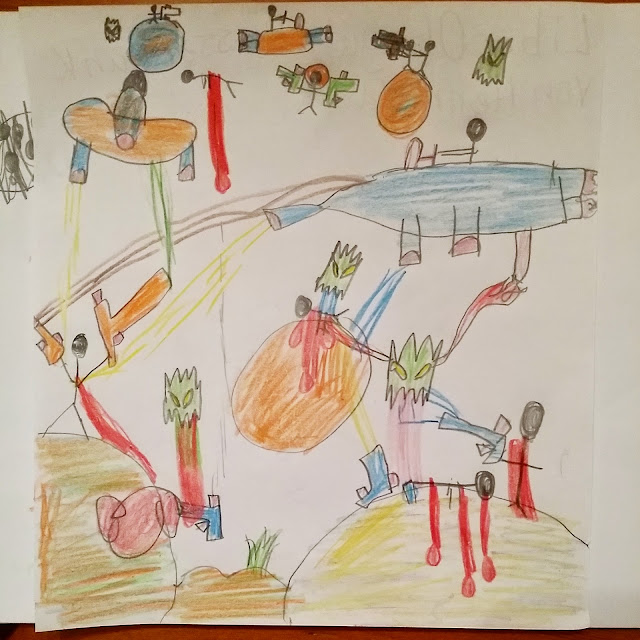 Kinderzeichnung, Kinderkunst, Bakterien gezeichnet