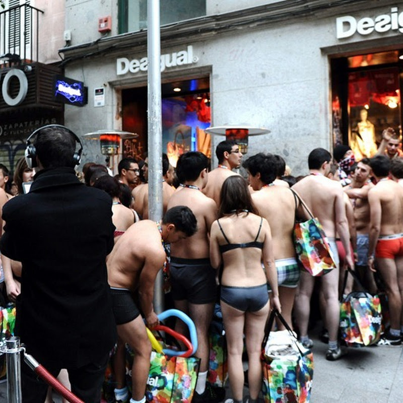 Spanish Clothing Outlet Gives Free Clothes to Semi Nude Shoppers