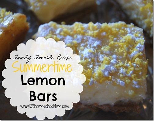 Family Favorite Recipe Summertime Lemon Bars