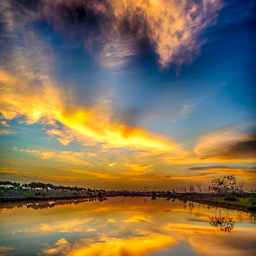 by Dugalan Poto - Landscapes Cloud Formations ( reflection, indonesia, dugalan, morning, pond, tegal, before sunrise, blue, orange. color,  )