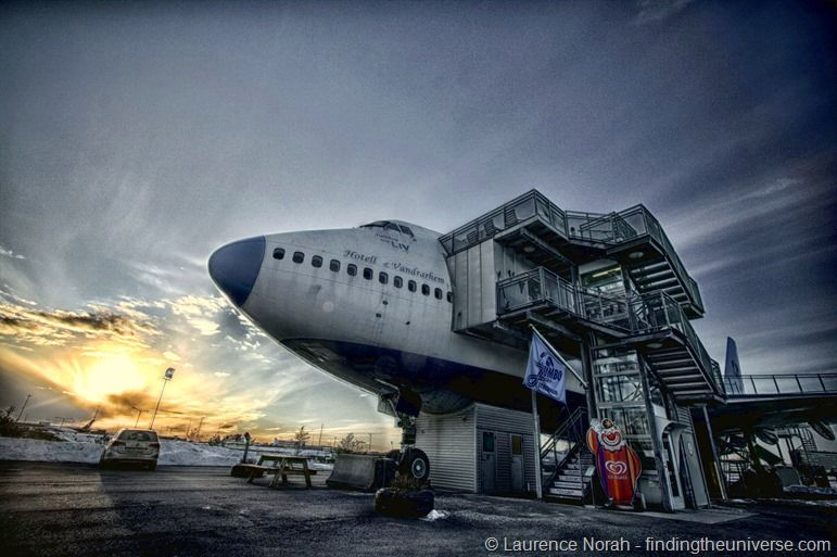 Jumbo stay nose 747 hostel Sweden Stockholm