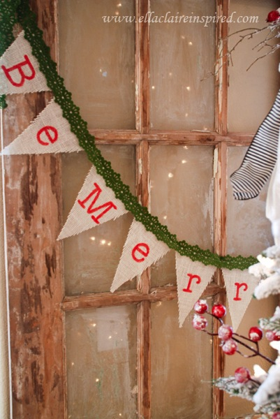 Be merry burlap garland