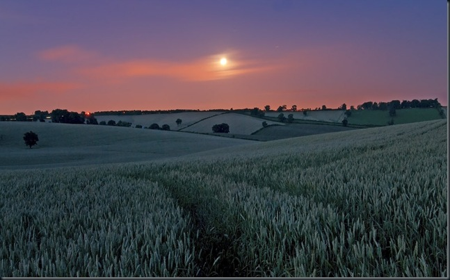 Moon over fields