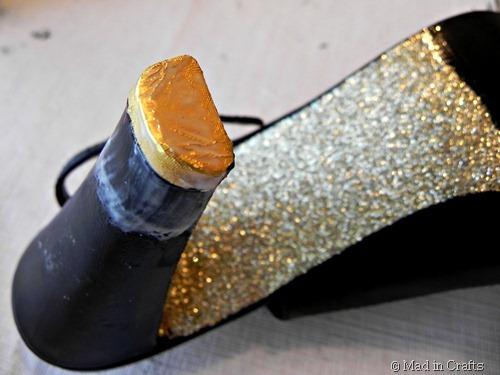 decoupage candy wrapper on heel
