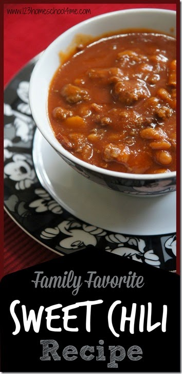 Sweet Chili Recipe - this is the chili recipe best that the whole family will like because it is sweet with yummy baked beans the whole family will love! This chili recipes kid friendly is sure to be fall favorite recipes dinner.