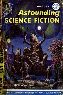 Cover by Van Dongen of Astounding Science Fiction magazine, British edition, August 1958 issue. Image illustrate the novel Close to Critical by Hal Clement.