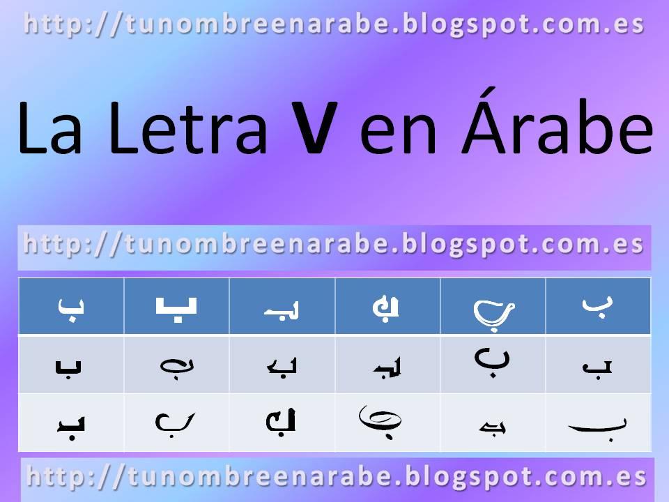 La letra V escrita en árabe para tatuajes