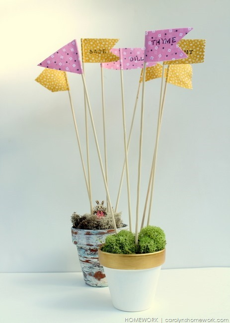 Fabric Duck Tape Plant Flags via homework | carolynshomework.com