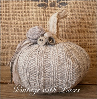Upcycled Wool Pumpkin by Vintage with Laces