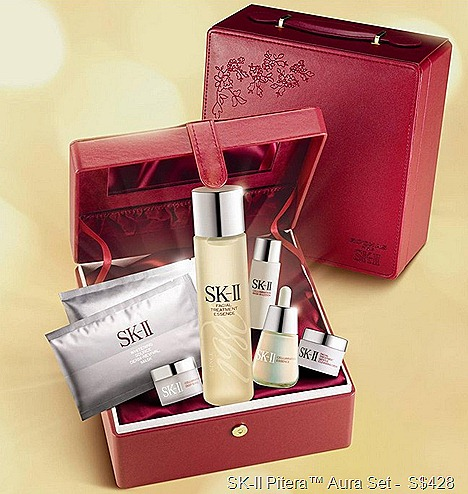 SK-II Pitera Aura Set Facial Treatment Essence, Cellumination Essence, Deep Surge, Whitening Source Derm Revival Mask, Mask In lotion, cleansing cream,
