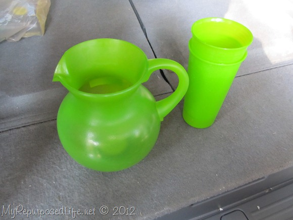 thrifted  green pitcher