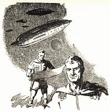One of the illustrations by Orban accompanying the original publication in Astounding magazine of short story Some Day Well Find You by Cleve Cartmill