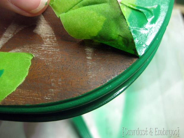 Using painters tape to make a PERFECTLY CRISP line on a rounded edge {Sawdust and Embryos}
