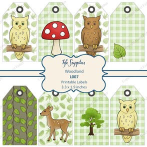 L007 etsy 1 woodland labels printable gift tags owl mushroom leaves deer