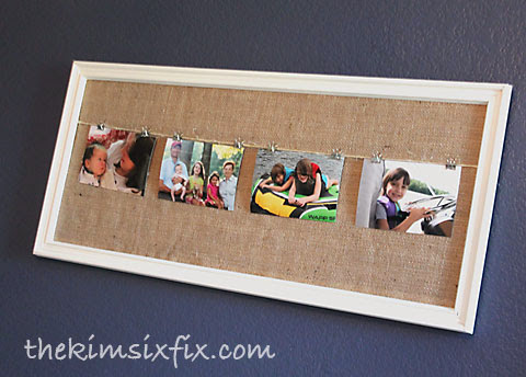 Clothesline style photo frame