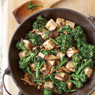 Stir-Fried Tofu with Mushrooms and Greens.