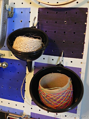 Funnels as Twine Storage (and more storage ideas)