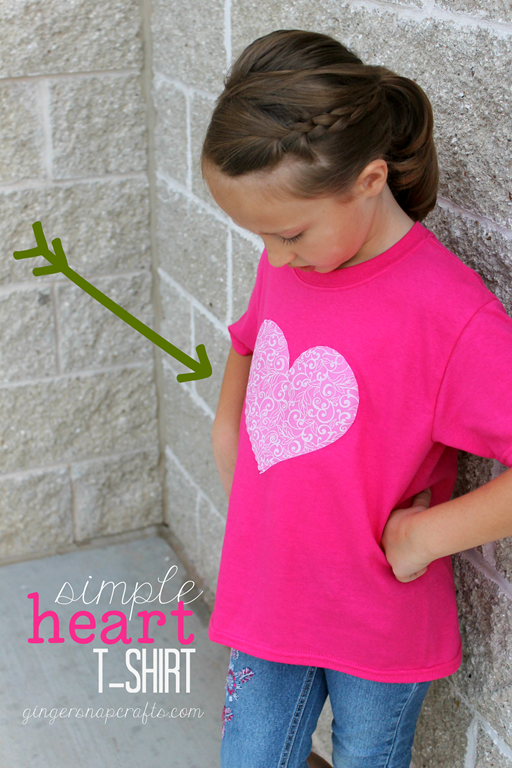 Simple Heart T-Shirt at GingerSnapCrafts.com #SilhouettePortrait #ad_thumb