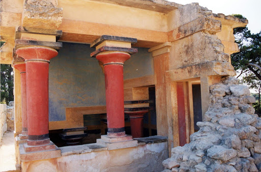 A building at the Palace of Knossos in Crete. The archaeological site dates to the Bronze Age and is considered Europe's oldest city.