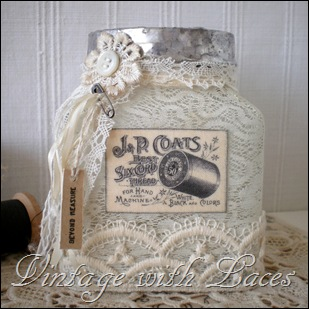 Thread Catcher, upcycled jar with soldered rim, lace and vintage image