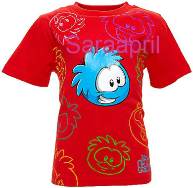 Red Club Penguin T-Shirt with Blue Puffle :)