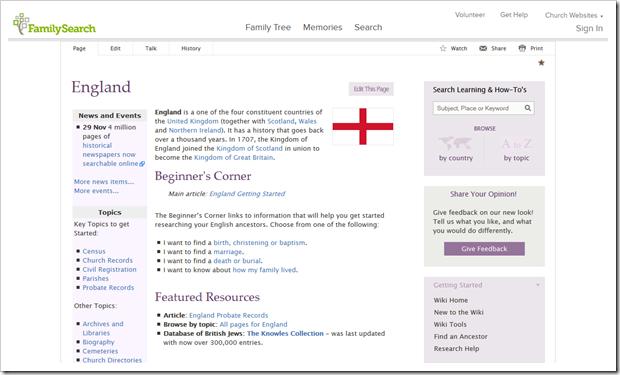 Familysearch Wiki文章关于英格兰