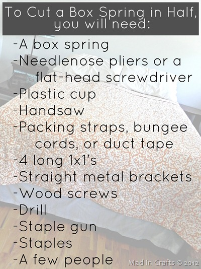 Materials for Cutting a Box Spring