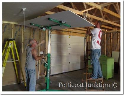 Hanging sheetrock on the ceiling Petticoat Junktion workshop construction