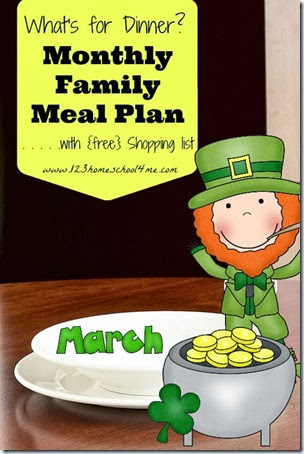 Free March Family meal Plan with printable weekly grocery lists