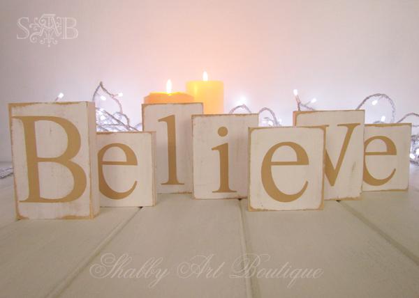 Shabby Art Boutique Believe letters