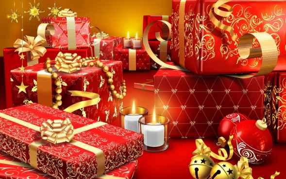 muchos regalos de navidad con bolas navideñas