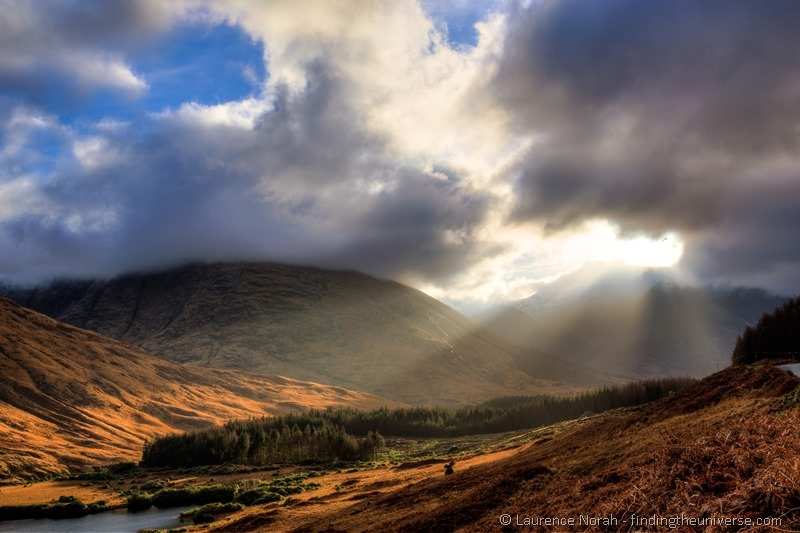 light rays over Scottish highlands glencoe