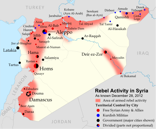 Map of rebel activity and control in Syria's Civil War (Free Syrian Army, Kurdish groups, and others), updated for December 2012. Includes recent locations of conflict, including Salqin, Harem, Beer Ajam, Tishrin Dam, and Ras al-Ayn.