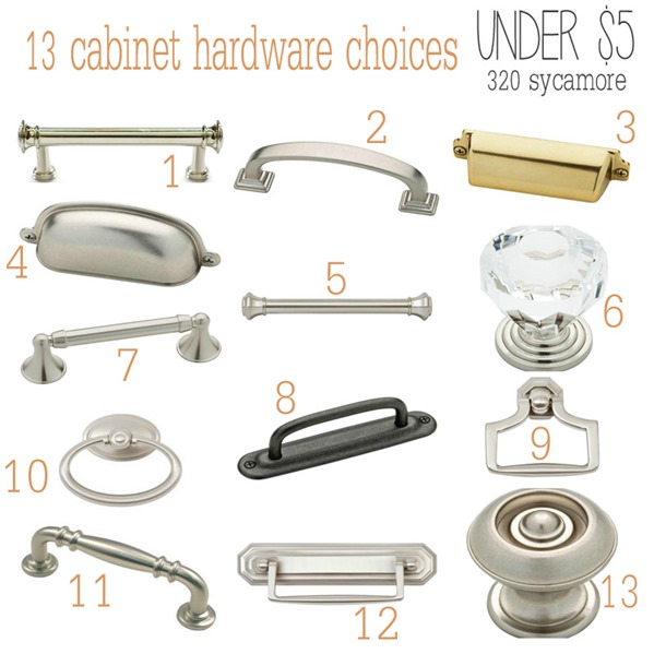 13 cabinet hardware choices under $5 -- 320 Sycamore