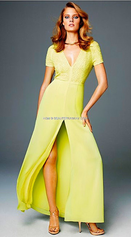 H&M SPRING 2012 CONSCIOUS COLLECTION EXCLUSIVE GLAMOUR  lemon yellow maxi gown KRISTIN DAVIS Michelle Williams