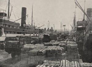 Un buque de Yeoward, seguramente el segundo AGUILA, embarcando plátano. Foto ARCHIVO FEDAC.jpg