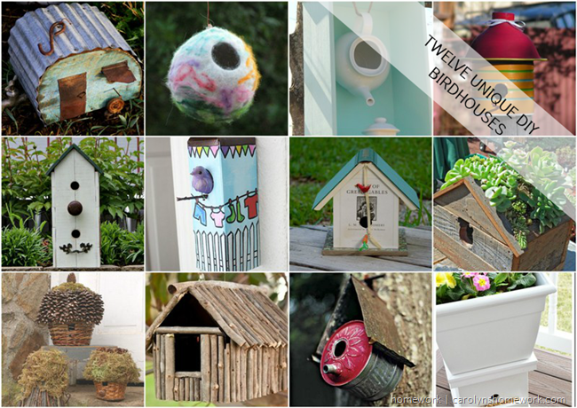 12 Unique Birdhouse Ideas via homework | carolynshomework.com