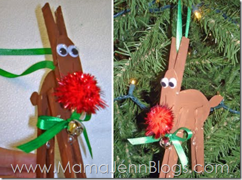 Clothespin Reindeer Christmas Ornament